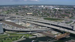Aerial Survey Of Zakim Bridge, Boston