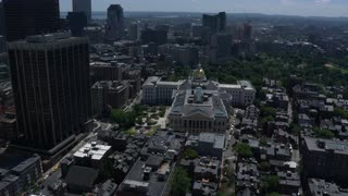 Aerial Survey Over Downtown Boston Near Massachusetts State House