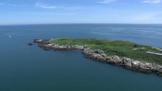 Aerial Swoop Over Island Preserve In Boston Harbor