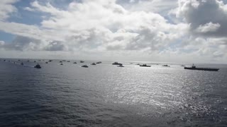 Aerial video of fleet of  warships during Rim of the Pacific Exercise 2014.
