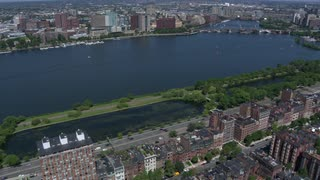 Aerial View Along Charles River Boston