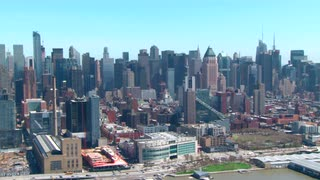 Aerial View Along Manhattan Skyline