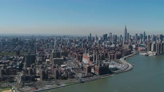 Aerial View Approaching Manhattan Skyline