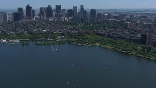 Aerial View Boston Along Charles River