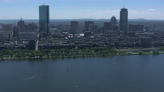 Aerial View Boston Along Water