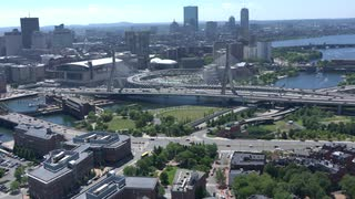 Aerial View Boston Along Zakim Bridge 2