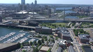 Aerial View Boston Along Zakim Bridge