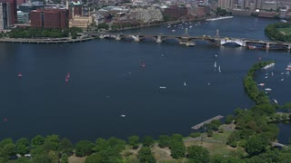 Aerial View Boston Charles River Longfellow Bridge