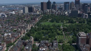 Aerial View Boston Downtown Park And Skyline