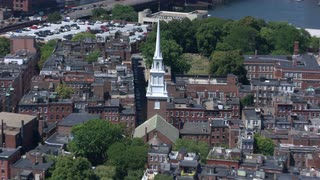 Aerial View Boston North End Zoom Out