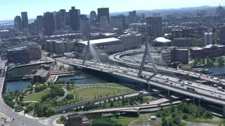 Aerial View Boston Over Zakim Bridge