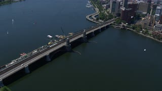 Aerial View Charles River Boston Zoom In On Longfellow Bridge