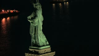 Aerial View Circling Behind Statue of Liberty