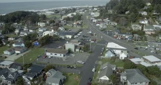 Aerial View of a Beach Town in Oregon
