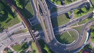 Aerial view of a freeway intersection.