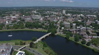 Aerial View Of Charles River And Distant Harvard University, Boston, Massachusetts