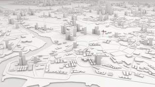 Aerial View of City Buildings 3D Render With Quention Mark Point Map