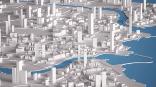 Aerial View of City Buildings 3D Rendering 4K Animation