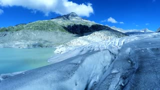 aerial view of glacier ice lake landscape. global warming background