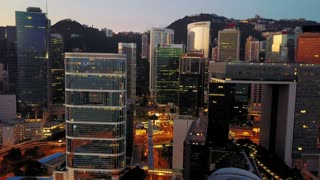 Aerial view of Hong Kong city at early morning time