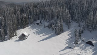 AERIAL: View of idyllic ski resort, alpine houses and dense forest in wintertime