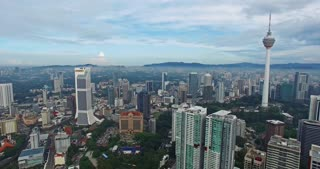 Aerial view of Kuala Lumpur city in Malaysia capital, tall buildings