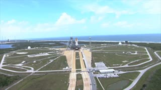Aerial view of launch pad day