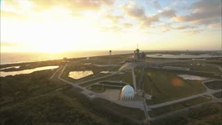 Aerial view of launch pad sunset