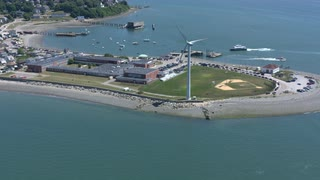 Aerial View Of School And Baseball Diamond On Beach Peninsula, Boston Suburbs