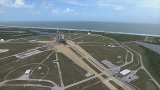 Aerial view of shuttle and launch pad