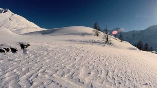 aerial view of snow mountains. snow winter landscape