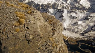 aerial view of snowcapped mountain panorama. winter landscape. alps glaciers