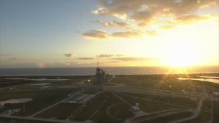 Aerial view of space center sunset