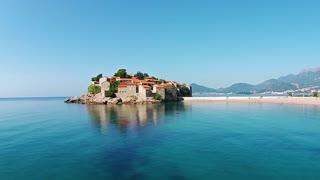 Aerial view of Sveti Stefan island in Montenegro, balkan