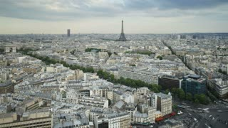 Aerial view of the City of Paris with the Eiffel Tower in the distance, France, Europe, T/Lapse