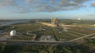 Aerial view of the space center from helicopter