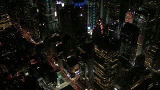 Aerial View of Times Square Peeking Through Skyscrapers