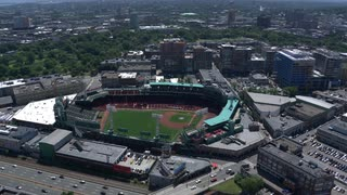 Aerial View Over Fenway Park With Highway Traffic, Boston, Massachusetts