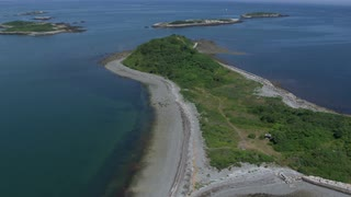 Aerial Zoom In On Natural Reserve Island, Boston Harbor