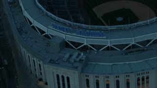 Aerial Zoom Out From Yankee Stadium Marquee