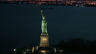 Aerial Zoom to Back of Statue of Liberty