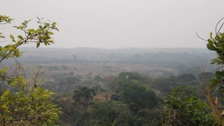 African Savanna With Haze And Smoke