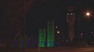 Air Traffic Control Tower At Night