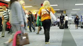 Airplane Passengers Walking Around Terminal