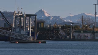 Alaskan Fishing Boat In Busy Harbor