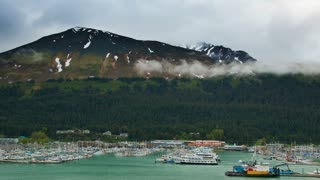 Alaskan Marina Beneath a Mountain