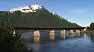 Alaskan Train Crossing Bridge