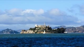 Alcatraz Island Timelapse. Alcatraz Island time lapse shot on a beautiful day in San Francisco. Rendered in UltraHD 4K from high resolution stills.
