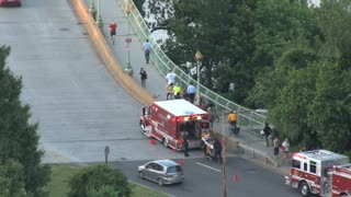 Ambulance and Firetruck Stopped on Key Bridge