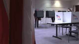 American Flag and Voting Booths 2